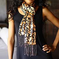 Silk batik scarf, 'Royale' - Artisan Crafted Batik Silk Patterned Scarf