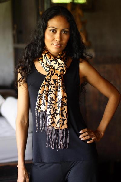 Silk batik scarf, 'Royale' - Artisan Crafted Batik Silk Patterned Scarf