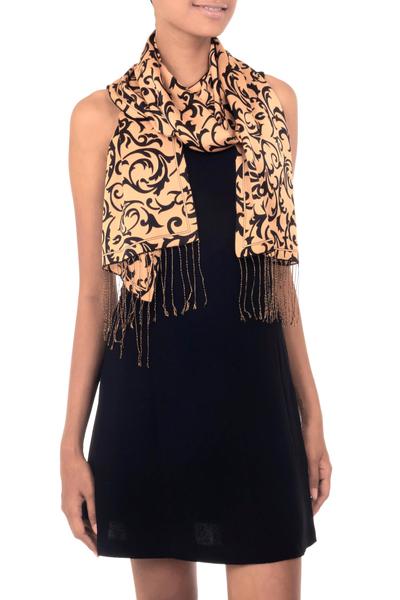 Artisan Crafted Batik Silk Patterned Scarf