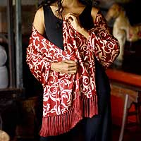 Silk batik shawl, 'Ruby Royale' - Handmade Batik Silk Patterned Shawl