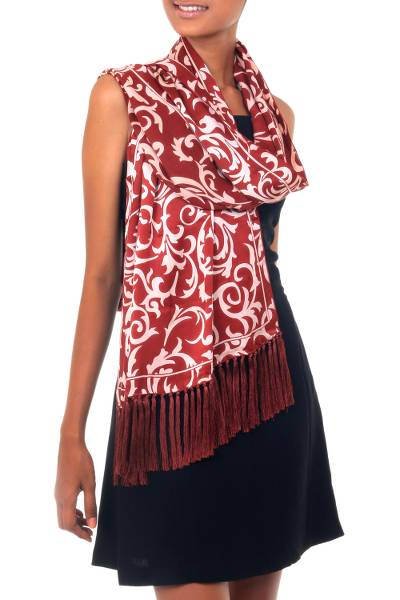 Handmade Batik Silk Patterned Shawl