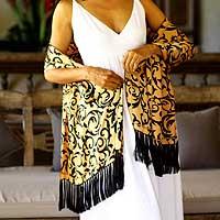 Silk batik shawl, 'Royale' - Silk batik shawl