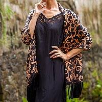 Silk batik shawl, 'Nocturnal Royale' - Batik Silk Black Shawl from Indonesia