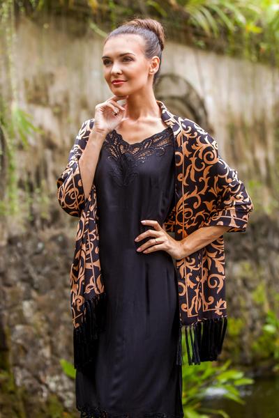 Silk batik shawl, 'Nocturnal Royale' - Batik Silk Black Shawl from Indonesia