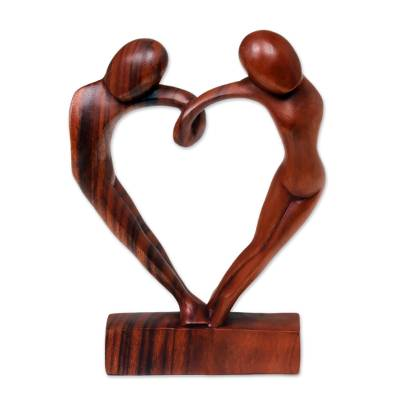 Wood sculpture, 'Loop of Love' - Unique Romantic Wood Sculpture