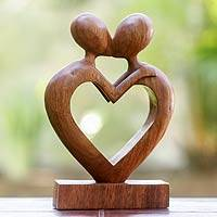 Wood sculpture, 'Love Flows'
