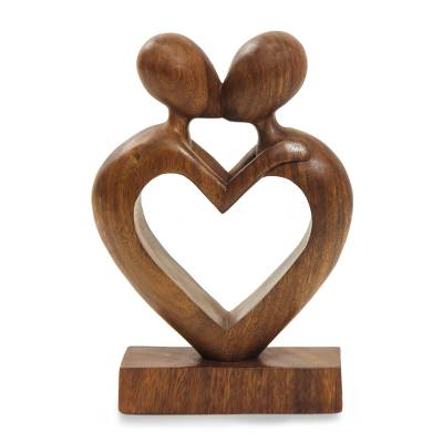 Wood sculpture, 'Love Flows' - Wood sculpture
