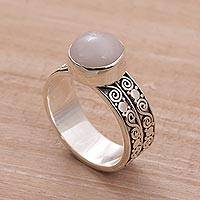 Rose quartz solitaire ring, 'Dawn Sky'
