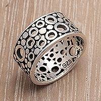 Men's sterling silver ring, 'Bubble Illusion'