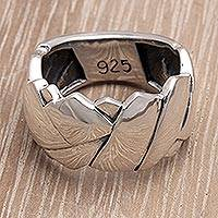 Men's sterling silver ring, 'Involved' - Men's Modern Sterling Silver Band Ring