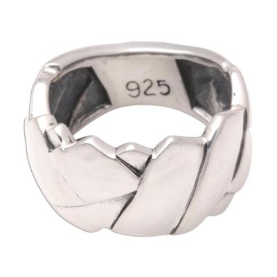 Men's sterling silver ring, 'Involved' - Men's Modern Sterling Silver Band Ring