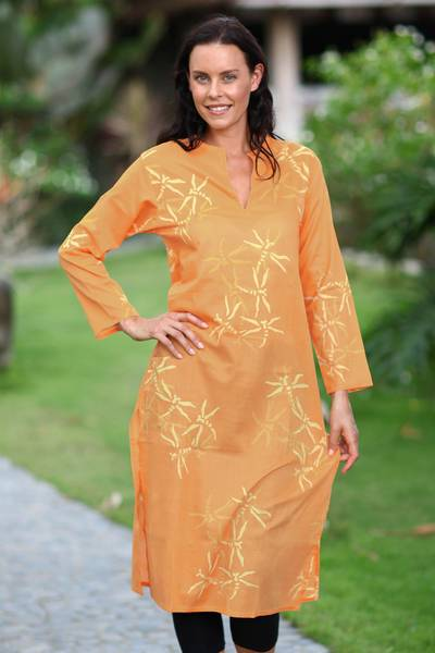 Cotton caftan, 'Orange Dragonfly Mysteries' - Women's Batik Cotton Caftan