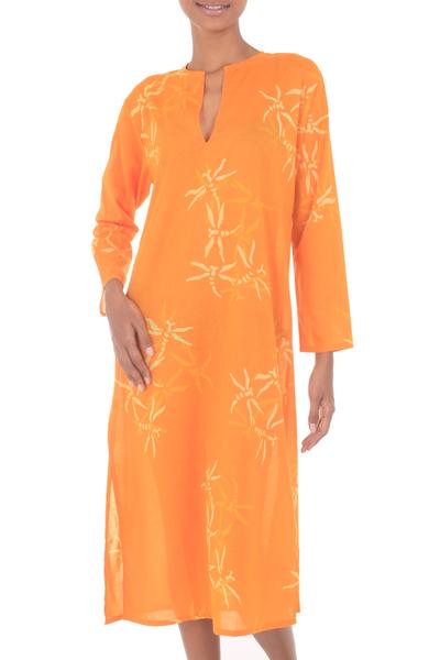 Cotton caftan, 'Orange Dragonfly Mysteries' - Women's Batik Cotton Caftan