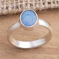 Opal solitaire ring, 'Intensity' - Fair Trade Sterling Silver and Blue Opal Ring