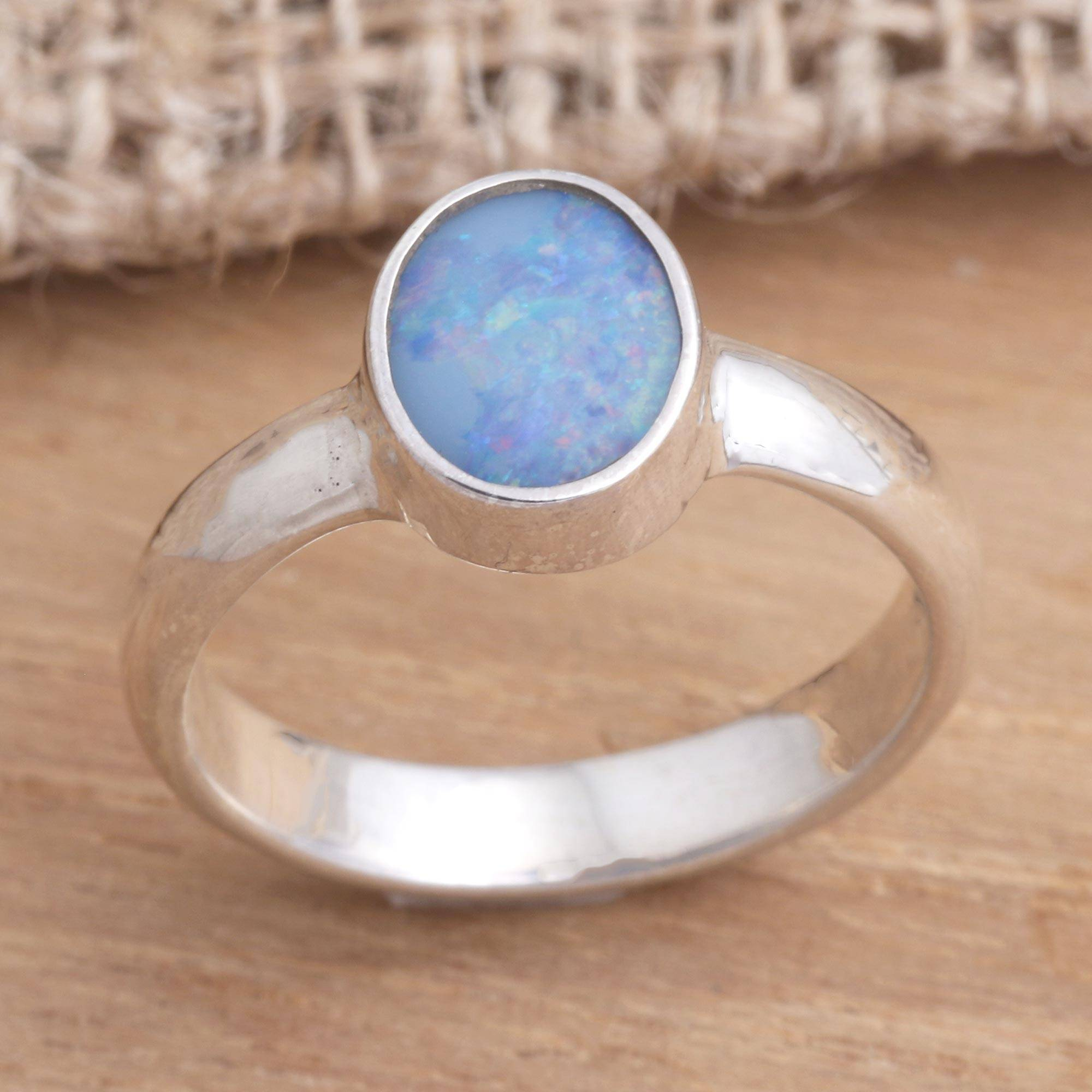 Opal solitaire ring, 'Intensity' Sterling Silver Jewelry Trends