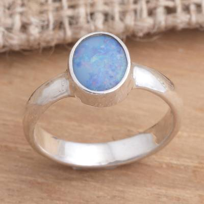 Opal solitaire ring, 'Intensity' - Handcrafted Sterling Silver and Opal Ring