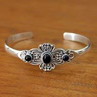 Onyx cuff bracelet, 'Black Gloxinia' - Onyx Floral Sterling Silver Cuff Bracelet