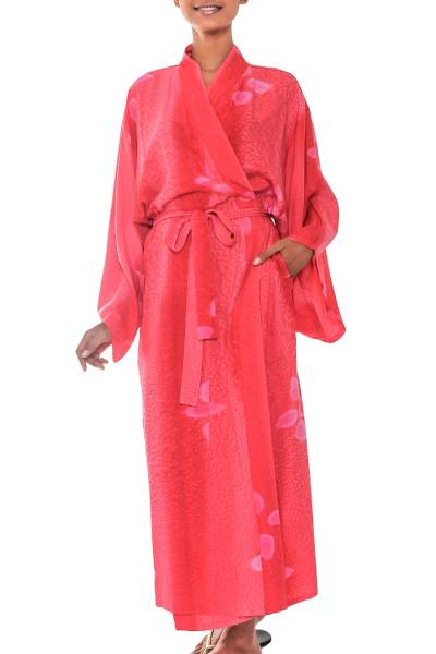 Women's batik robe, 'Kissed by Crimson' - Women's Fair Trade Indonesian Batik Robe