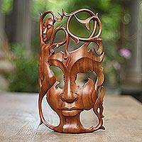 Wood mask, 'Dreaming Princess' - Modern Handcarved Wood Bask