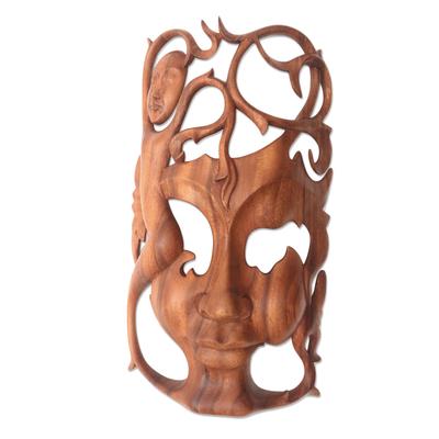 Wood mask, 'Dreaming Princess' - Modern Handcarved Wood Bask
