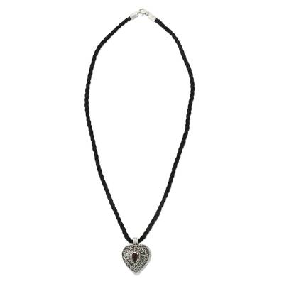 Garnet heart locket necklace, 'Secret Love' - Heart Shaped Sterling Silver and Garnet Locket Necklace