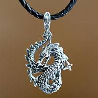 Men's sterling silver pendant necklace, 'Dancing Dragon' - Men's Unique Sterling Silver and Leather Pendant Necklace