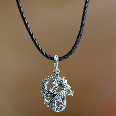 Mens sterling silver pendant necklace, Dancing Dragon