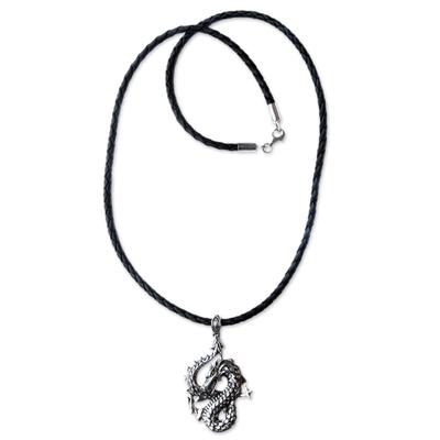 Men's sterling silver pendant necklace, 'Dancing Dragon' - Men's Unique Sterling Silver and Leather Pendant Necklace