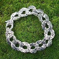 Men's sterling silver bracelet, 'Liberty' - Men's Sterling Silver Link Bracelet