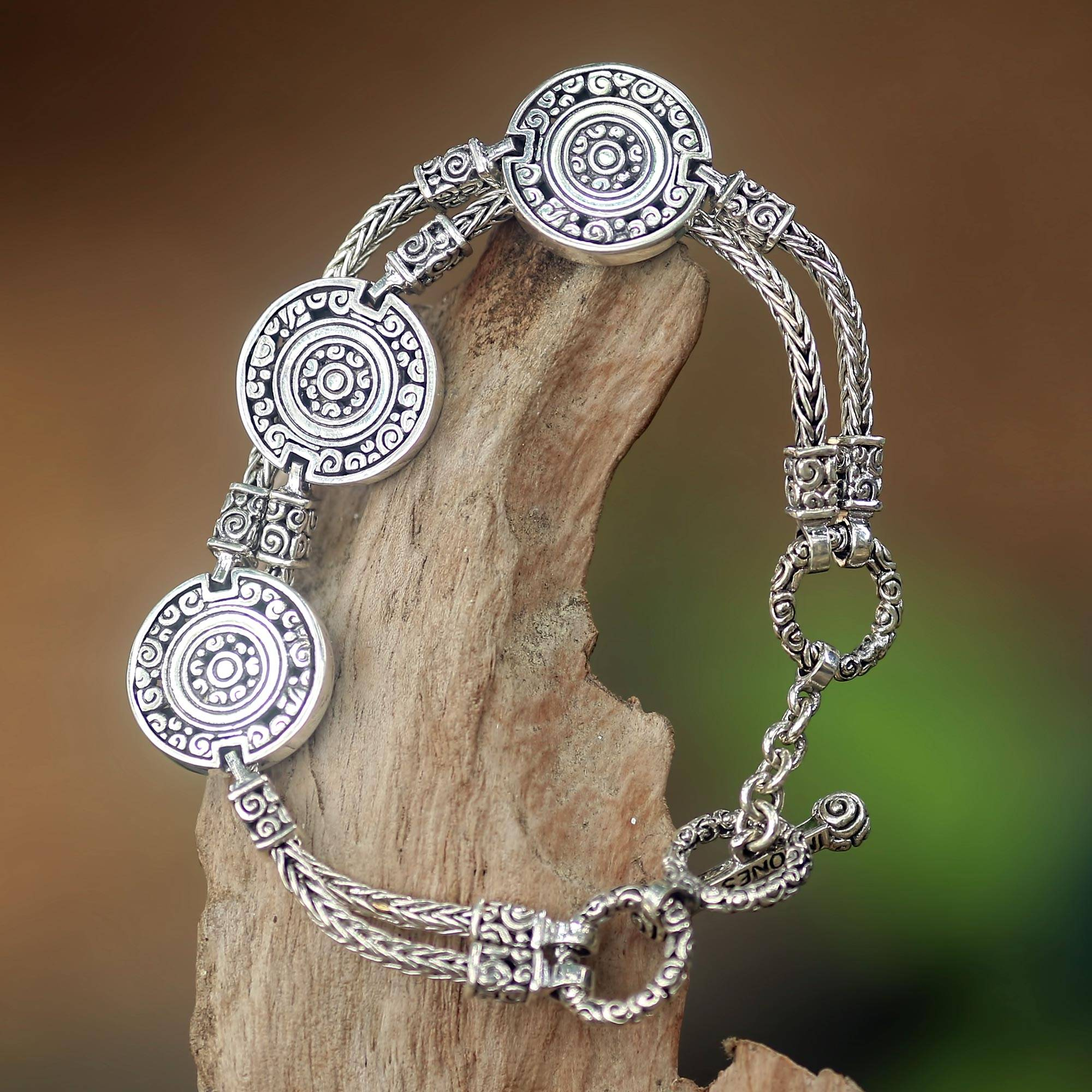 Indonesian Good Fortune Sterling Silver Bracelet Coins of the