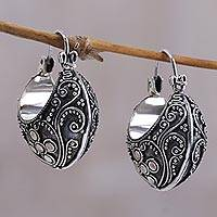 Sterling silver hoop earrings, 'Bali Paradise' - Floral Sterling Silver Hoop Earrings