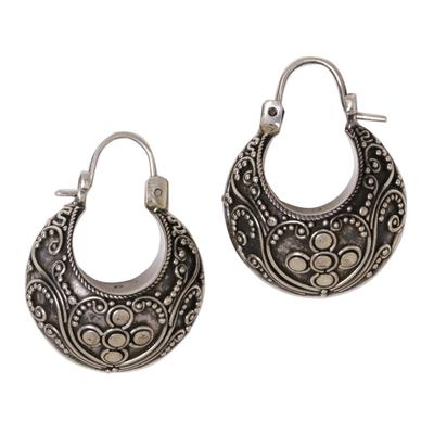 Sterling silver hoop earrings, 'Bali Paradise' - Floral Sterling Silver Hoop Earrings