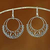 Sterling silver dangle earrings, 'Bali Shines' - Women's Sterling Silver Hoop Earrings