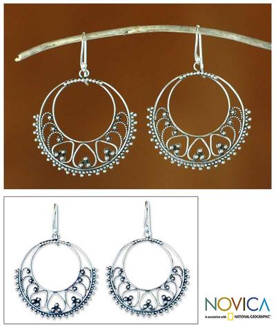 Sterling silver dangle earrings, 'Bali Shines' - Sterling silver dangle earrings
