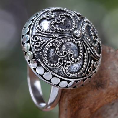 Sterling silver dome ring, 'Balinese Princess' - Artisan Crafted Sterling Silver Domed Ring