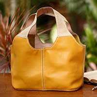 Leather shoulder bag, 'Sunshine' - Artisan Crafted Yellow Leather Shoulder Bag