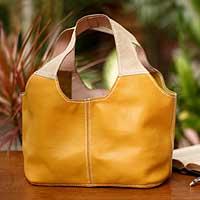 Leather shoulder bag, 'Sunshine' - Artisan Crafted Yellow Leather Shoulder Bag