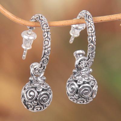Sterling silver half hoop earrings, 'Ringlets' - Handmade Sterling Silver Half Hoop Earrings