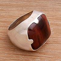 Men's sterling silver ring, 'Wild' - Men's Hand Crafted Sterling Silver and Tiger's Eye Ring