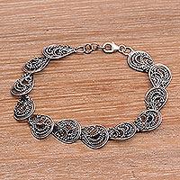 Sterling silver link bracelet, 'Dewdrop Petals'