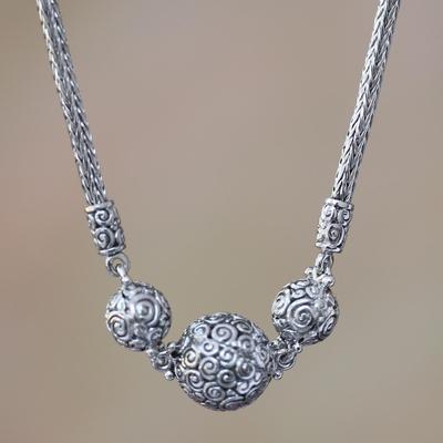 Sterling silver pendant necklace, 'Ringlets' - Sterling silver pendant necklace