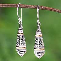 Gold accent dangle earrings, 'Amaranth' - Silver Silver Earrings Embellished With Gold