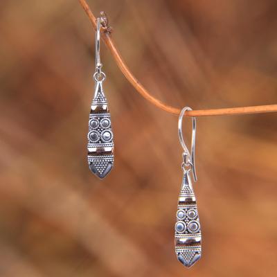 Gold accent dangle earrings, 'Fireflies' - Sterling Silver 18k Gold Accent Dangle Earrings