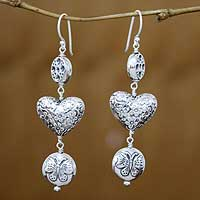 Sterling silver dangle earrings, 'Butterfly Heart' - Sterling silver dangle earrings