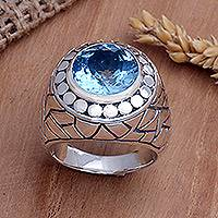 Men's sterling silver ring, 'Blue Ocean' - Men's Sterling Silver and Topaz Ring