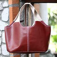 Leather shoulder bag, 'Cherry Pop' - Red Indonesian Leather Shoulder Bag