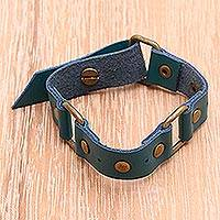 Leather wristband bracelet, 'Turquoise Trio' - Leather wristband bracelet