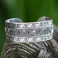 Sterling silver cuff bracelet, 'Princess Garden' - Unique Sterling Silver Cuff Bracelet