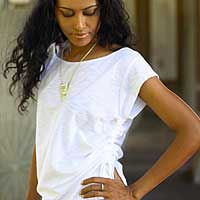 Cotton tunic, 'Side Cinch White' - Indonesian Cotton Knit Top