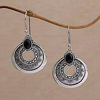 Onyx dangle earrings, 'Royal Medallion' - Handcrafted Sterling Silver and Onyx Dangle Earrings